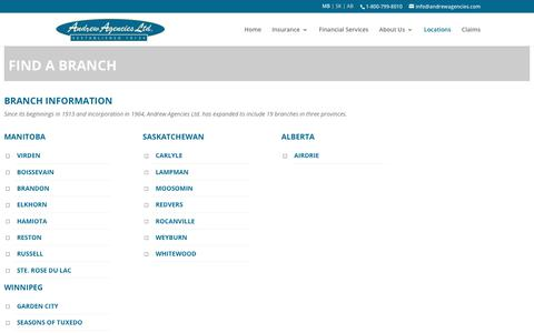 Screenshot of Locations Page andrewagencies.com - Find a Branch | Andrew Agencies - captured Oct. 8, 2017