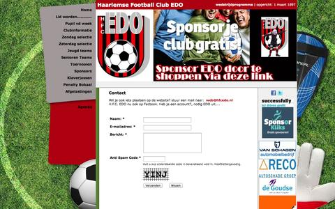 Screenshot of Contact Page hfcedo.nl - Haarlemsche Football Club EDO - Contact - captured Sept. 26, 2014
