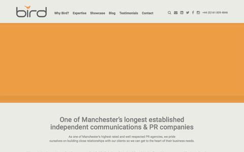 Screenshot of Home Page birdconsultancy.co.uk - Manchester PR Agency - Bird Consultancy - captured June 1, 2017