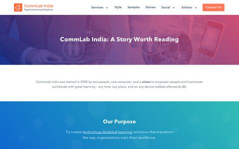 Screenshot of About Page commlabindia.com - The Most Sought-After Rapid eLearning Solutions Expert – CommLab India - captured Dec. 8, 2018