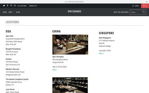 Screenshot of Locations Page spinceramics.com - Locations - Spin Ceramics - captured Nov. 5, 2017