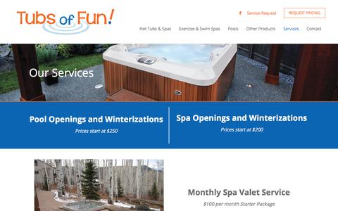 Screenshot of Services Page tubsoffun.com - Hot Tub Services & Hot Tub Repair Services - Fargo ND - Tubs of Fun - captured June 17, 2017