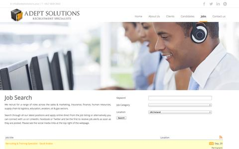 Screenshot of Jobs Page adeptsolutions.asia - Job Board - captured Oct. 4, 2014