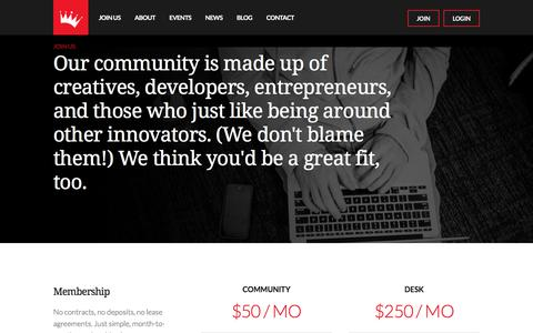 Screenshot of Signup Page geekdom.com - Join Us -Join Geekdom Coworking in San Antonio Texas - captured July 12, 2016