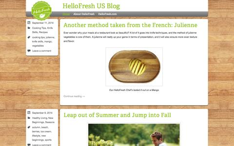 Screenshot of Blog hellofresh.com - HelloFresh US Blog | Discover the joy of cooking - captured Sept. 16, 2014