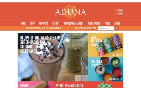 Screenshot of Home Page aduna.com - Aduna - captured Jan. 19, 2016
