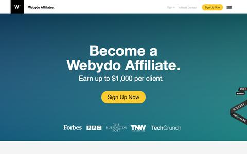 Screenshot of webydo.com - Refer Clients and Earn High Commissions | Webydo Affiliates - captured March 19, 2016
