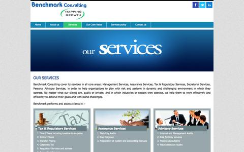 Screenshot of Services Page benchmarkconsulting.in - BENCHMARK CONSULTING - MAPPING GROWTH - captured Sept. 30, 2014