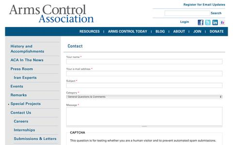 Screenshot of Contact Page armscontrol.org - Contact | Arms Control Association - captured Aug. 27, 2016