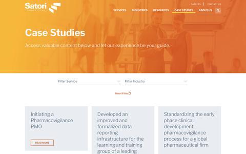 Screenshot of Case Studies Page satoriconsulting.com - Business Performance & Change Management Case Studies - captured July 27, 2018