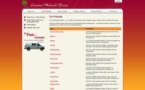 Screenshot of Products Page louisianawholesaleflorists.com - Louisiana Wholesale Florists   Our Products - captured July 17, 2016