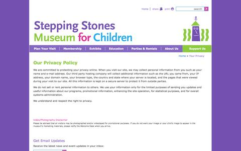Screenshot of Privacy Page steppingstonesmuseum.org - Privacy Policy | Stepping Stones Museum for Children | Norwalk, CT - captured Oct. 30, 2014