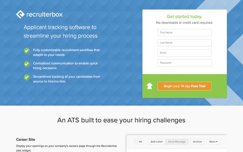 Screenshot of Landing Page recruiterbox.com - Recruitment Software, Applicant Tracking: Recruiterbox - captured July 19, 2016