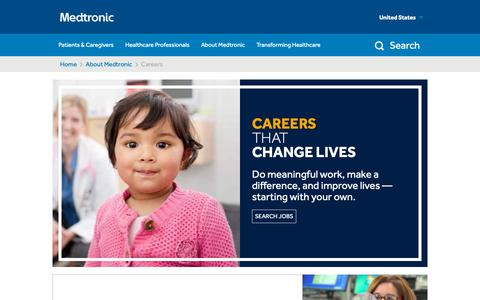Screenshot of Jobs Page medtronic.com - Careers | Medtronic - captured Nov. 16, 2018