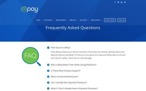 Screenshot of FAQ Page atpay.com - FAQ - @Pay | Mobile Giving Technology - captured Nov. 1, 2017
