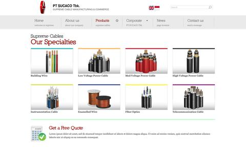 Screenshot of Products Page sucaco.com - PT SUCACO Tbk | Supreme Cable Manufacturing & Commerce - captured Oct. 16, 2016