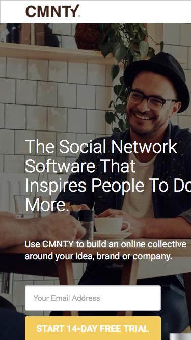 Screenshot of Landing Page  cmnty.com - The Social Network Software that inspires people to do more.