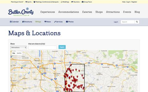 Screenshot of Maps & Directions Page visitbutlercounty.com - Maps & Locations | Visit Butler County Pennsylvania! - captured Feb. 11, 2016