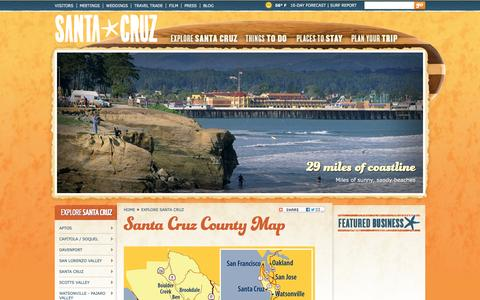 Screenshot of Maps & Directions Page santacruz.travel - Santa Cruz County CA - County Map - captured Feb. 4, 2016