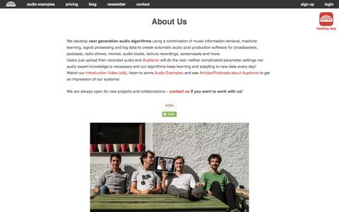 Screenshot of About Page auphonic.com - About Us - captured Sept. 22, 2014