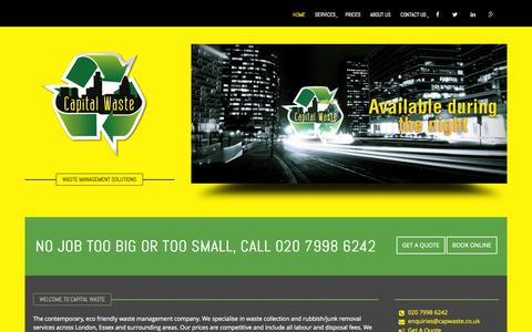 Screenshot of Home Page capwaste.co.uk - Capital Waste Management | Clearance and Removal Service| London - captured Sept. 24, 2015