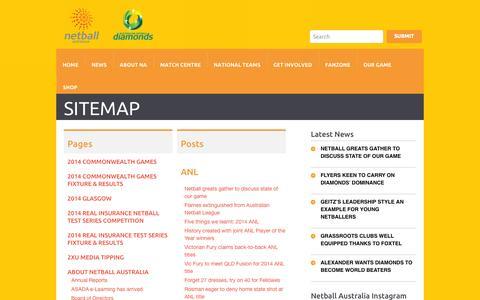 Screenshot of Site Map Page netball.com.au - Sitemap - Netball AustraliaNetball Australia - captured Nov. 3, 2014