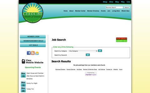 Screenshot of Jobs Page carolinechamber.org - Job Search - Chamber - Caroline Chamber of Commerce - captured Nov. 5, 2014