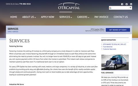Screenshot of Services Page otrcapital.com - Services - OTR Capital - captured Nov. 11, 2017