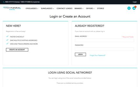 Screenshot of Login Page titan.co.in - Customer Login - captured July 9, 2017