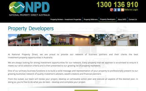 Screenshot of Developers Page npdaustralia.com.au - Property Developers - Property Brokers - NPD Australia - captured Nov. 5, 2014