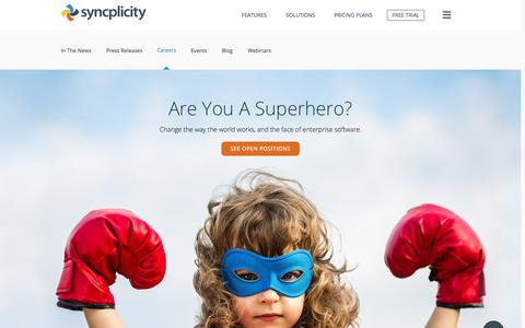 Screenshot of Jobs Page syncplicity.com - Syncplicity Careers | Syncplicity - captured Oct. 26, 2015