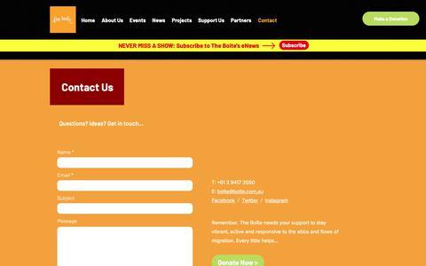 Screenshot of Contact Page boite.com.au - The Boite   Contact - captured Oct. 31, 2018