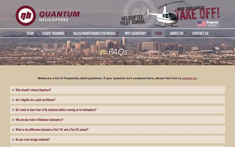 Screenshot of FAQ Page quantumhelicopters.com - FAQs | Quantum Helicopters - captured July 22, 2018