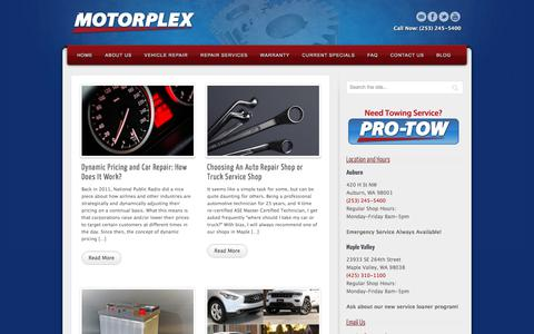 Screenshot of Blog motorplex.com - Motorplex Blog Auburn Maple Valley WA | Learn More About Your Vehicle - captured Nov. 16, 2017