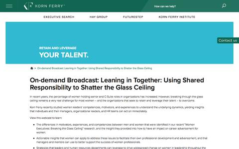 On-demand Broadcast: Leaning in Together: Using Shared Responsibility to Shatter the Glass Ceiling