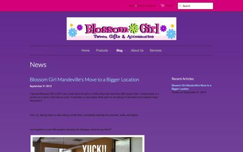 Screenshot of Press Page blossomgirl.com - News – Blossom Girl - captured Oct. 10, 2014
