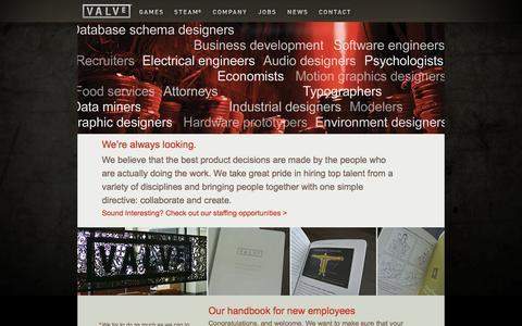 Screenshot of Jobs Page valvesoftware.com - Valve - captured Sept. 18, 2014