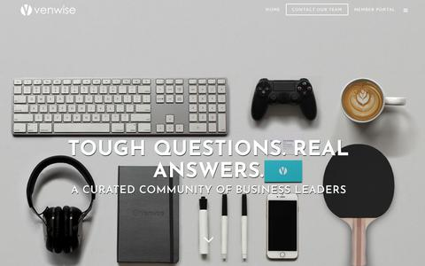Screenshot of Home Page venwise.com - Venwise: Tough Questions. Real Answers. - captured Sept. 20, 2018