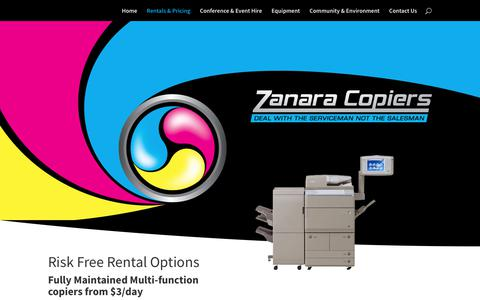 Screenshot of Pricing Page zanara.com.au - Pricing - Zanara Photocopiers - captured Oct. 31, 2018