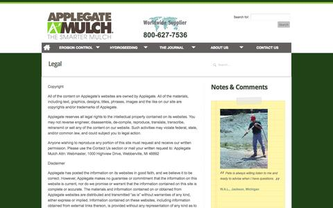 Screenshot of Terms Page applegatemulch.com - Legal | Applegate Mulch - captured Sept. 30, 2014