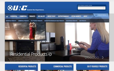 Screenshot of Products Page universalremote.com - URC : Whole House Control : Residential and Commercial Products - captured Sept. 23, 2014