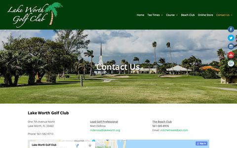 Screenshot of Contact Page lakeworthgolfclub.com - Contact Us - Lake Worth Golf Club - captured Oct. 31, 2018