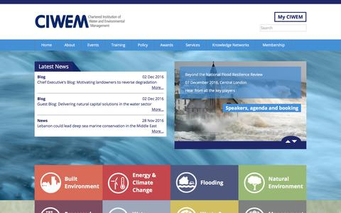 Screenshot of Home Page ciwem.org - Chartered Institution of Water and Environmental Management | CIWEM - captured Dec. 2, 2016