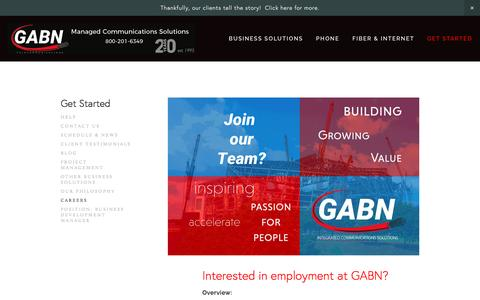 Screenshot of Jobs Page gabn.net - Georgia Business Net - Fiber, Phone Systems, Internet, Cloud, & More Careers - captured April 22, 2017