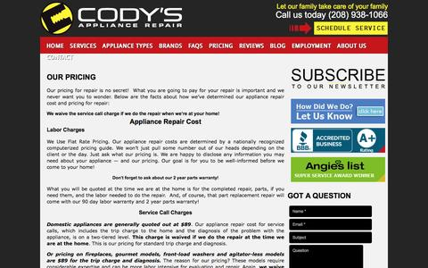 Screenshot of Pricing Page codysappliancerepair.com - Cody's Appliance Repair Prices & Warranty | Appliance Repair Cost - captured May 19, 2017