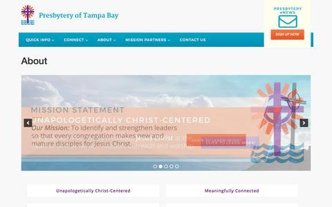 Screenshot of About Page presbyteryoftampabay.com - About | Presbytery of Tampa Bay - captured July 21, 2018