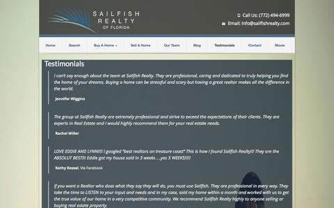 Screenshot of Testimonials Page sailfishrealty.com - Testimonials | Sailfish Realty Stuart Real Estate Agency - captured Oct. 4, 2014