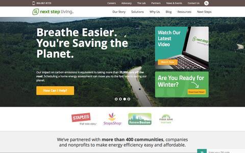 Screenshot of Home Page nextstepliving.com - Next Step Living¨ | Save Energy at Home - Home Energy Audits MA & CT - captured Jan. 3, 2016