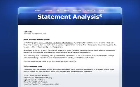 Screenshot of Services Page statementanalysis.com - Interviewing and Analyzing Services - captured Feb. 5, 2016