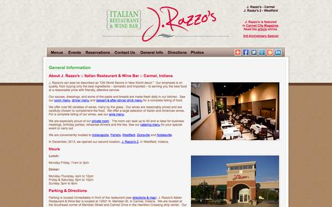Screenshot of About Page Locations Page Hours Page jrazzos.com - Italian Restaurant & Wine Bar | Carmel Indiana - captured Oct. 23, 2014